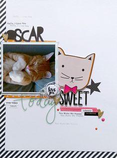 #papercrafting #scrapbooking #layouts - Sweet Oscar by Jana McCarthy (FYC Kiss mini flair designed by Jana herself)