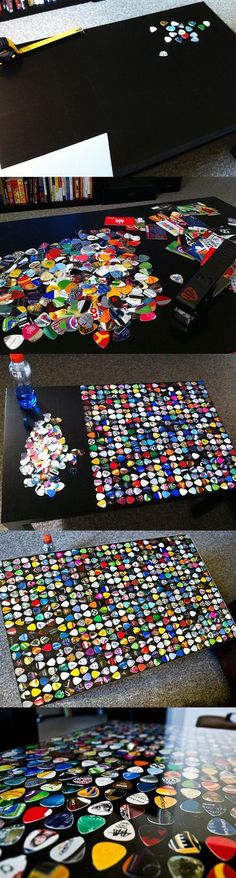 Guitar pick coffee table (or maybe guitar pick wall art?) @Lillia Rose a great Christmas gift for Ben... Start swiping his picks now.