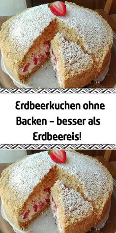 Strawberry cake without baking - better than strawberry ice cream!- Erdbeerkuchen ohne Backen – besser als Erdbeereis! This cake became an internet hit. Easy Cupcake Recipes, Cookie Recipes, No Bake Desserts, Dessert Recipes, German Bread, Strawberry Ice Cream, Icing Recipe, Food Cakes, Mole