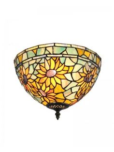 """12"""" Iron Base Rustic Style Stained Glass Sunflowers Tiffany Style Flush Mount"""