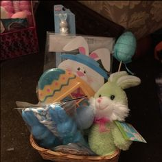 Boy Easter basket Bunny bubbles Stuff bunny  Paddle n ball bunny Egg tic tac toe 2 pencils Egg chalk Bunny jump rope  Will b wrap in plastic with ribbon Other