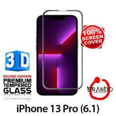 Brando Workshop Full Screen Coverage Curved 3D Glass Protector (iPhone 13 Pro (6.1)) - Black