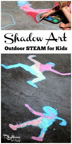 Shadow art outdoor science is a hands-on STEAM activity that will help children learn about shadows while making art. A great learning activity for homeschooling and a fun outside art and science activity for toddlers, preschoolers, kids and even adults. Science Activities For Toddlers, School Age Activities, Steam Activities, Science For Kids, Art For Kids, Outdoor Preschool Activities, Summer Science, Arts And Crafts For Kids For Summer, School Age Games