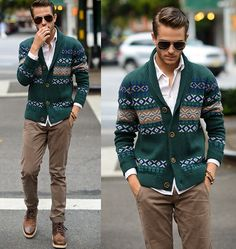 green sweater + tan pants + boots