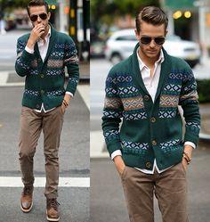 green sweater + tan pants + boots