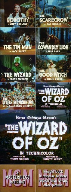 10/1/14 6:21a MGM ''The Wizard of Oz'' Credits Trailer Typography Striking 1939