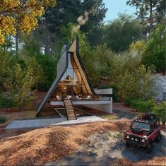 A Frame House Plans, A Frame Cabin, Tiny House Cabin, Cabin Homes, Futuristic Architecture, Architecture Design, Glass House Design, Cabin In The Woods, Architect Magazine