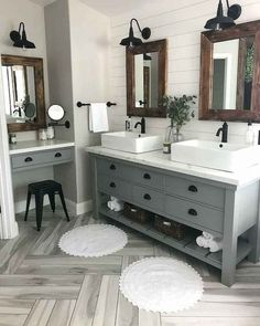 Bathroom decor for your master bathroom remodel. Discover bathroom organization, bathroom decor suggestions, bathroom tile tips, master bathroom paint colors, and more. Bathroom Renos, Bathroom Renovations, Home Remodeling, Master Bathrooms, Bathroom Cabinets, Bathroom Mirrors, Rustic Modern Bathrooms, Basement Bathroom Ideas, Shiplap Bathroom