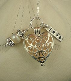 <3 Heart Necklace Pink Sea Glass Jewelry Locket By Seaglassgems4you, $28
