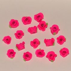 Pink Polymer Clay Rose Flower Beads 10mm - pinned by pin4etsy.com