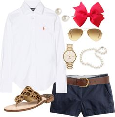 navy shorts, white button down, jack rogers, pearls, bracelet, pink bow, sunglasses