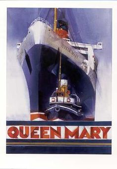Vintage Travel Queen Mary has the BIGGEST ballroom dance floor of any cruise ship afloat. Queen Mary Ship, Pub Vintage, Vintage Decor, Retro Poster, Art Deco Posters, Ship Art, Vintage Travel Posters, Summer Travel, Vintage Advertisements