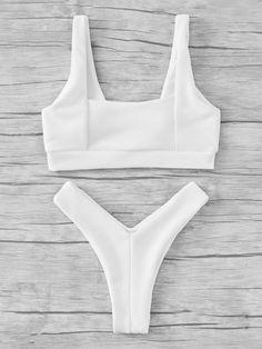 ROMWE - ROMWE Textured High Leg Bikini Set - AdoreWe.com