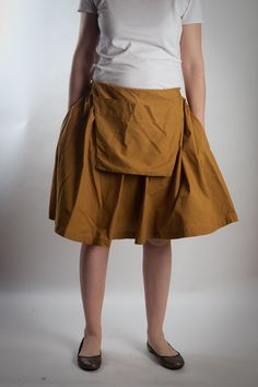 overalls dress or skirt with big pocket yellow by LeBlusine