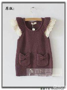Toddler Jumper - Sarafanchik with karmanchikami. Discussion on LiveInternet - Russian Service Online diary Knit Baby Dress, Knitted Baby Clothes, Baby Cardigan, Crochet Clothes, Diy Clothes, Knitting For Kids, Crochet For Kids, Baby Knitting Patterns, Crochet Baby