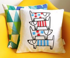 Dog Cushions, Retro Fabric, Happy Dogs, Screen Printing, Pillow Covers, Throw Pillows, Printed, Awesome, Handmade Gifts
