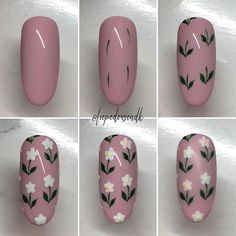 Reklame// Easy flowers with gel paint 🌸   Nail Art Simple, Cute Nail Art, Nail Art Diy, Cute Nails, Pretty Nails, Daisy Nails, Flower Nails, Manicure Nail Designs, Nail Manicure