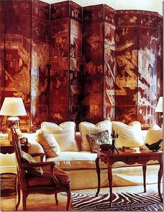 Large Folding screen is the focal point in this space.