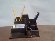 desk organizer. pencil and business card holder. by freshweld, $40.00