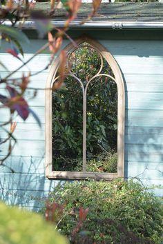 Rustic Garden Outdoor Wall Mirror Chapel Window Design 3ft8 x 2ft 112cm x 61cm: Amazon.co.uk: Kitchen & Home