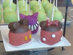 minnie and mickey mouse and cheshire cat apple pops