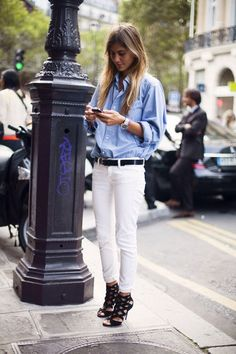 Streetstyle denim & white. i like that look