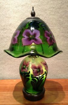 Daniel Lotton Small Green Lamp with Purple Flowers 16 x 9 in.  Blown Glass