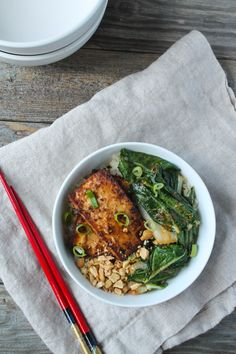 Spicy Peanut Tofu and Bok Choy Rice Bowl   @karalydon The Foodie Dietitian