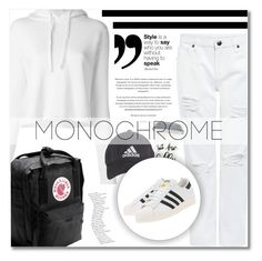 """Make It Monochrome"" by kawaiinne ❤ liked on Polyvore featuring NLST, Edit, adidas, adidas Originals, Fjällräven and monochrome"