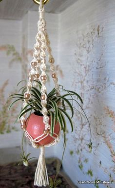 Dollhouse Miniature Macrame Plant Hanger with Spider Plant 1/12 scale OOAK