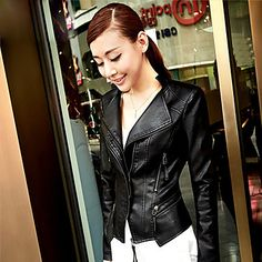 Black  PU Leather Stand Collar Zip Decor Slim Jacket @ LightInTheBox $60