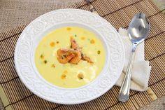 THERMOMIX: Creme de mandioquinha com camarão salteado