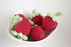 Strawberries  Half Dozen   Crochet Fruits by Katswag on Etsy, $20.00