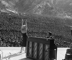 Marilyn Monroe performing for the thousands of American troops in Korea, 1954