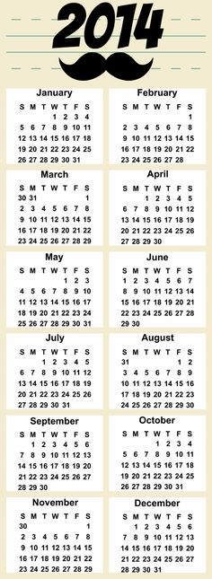 Yearly calendar 2014 - free printable
