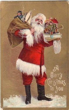 Gorgeous Red Robe Santa Gold Background Original Vintage Christmas Postcard   eBay