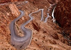 Dangerous Roads around the World. The Dades Gorge, lying in the Atlas Mountains, is beautiful to look at, but not while you're driving this twisty-turvy road. Big Sur California, Grand Canyon, Beautiful Roads, Beautiful Places, Beautiful Scenery, Cool Pictures, Cool Photos, Amazing Photos, Random Pictures