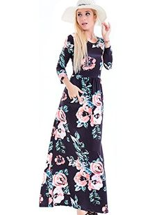 Women's Fashion Spring Floral Print Dress 3/4 Sleeve long Casual Maxi Dresses Zero Jorla - New Dresses Special Today
