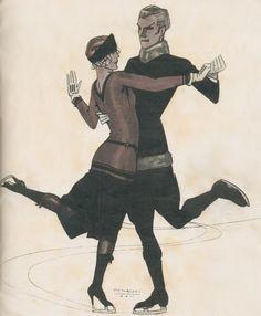 Rafael de Penagos (Spanish 1889-1954).....dancing on ice....