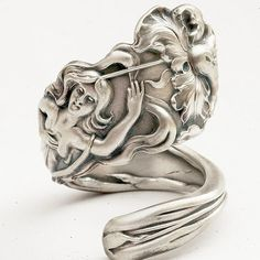 Rare Goddess and Flower Art Nouveau Sterling Silver Spoon Ring Handcrafted in Your Size (830)
