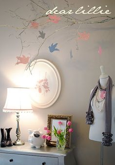 I'm making this hanging branch to go in my cats' room (what your cats don't have their own room?). But I want to use butterflies instead of birds. Too lovely!