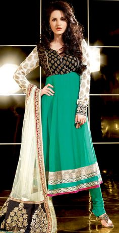 The fascinating beautiful subtly garment with lovely patterns.   The dazzling green and black georgette and viscose anarkali churidar suit have amazing embroidery patch work is done with resham, zari and lace work.   Beautiful embroidery work on kameez is stunning.   The entire ensemble makes an excellent wear.   Matching green santoon churidar and off white dupatta is available with this suit.   Slight Color variations are possible due to differing screen and photograph resolutions.