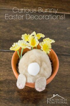 Turn a few cotton balls and felt into a curious little bunny; perfect Easter decorations or table place cards!