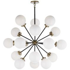 Shop for Visual Comfort S Ian K. Fowler Modern Bistro Medium Round Chandelier in Hand-Rubbed Antique Brass and Black with White Glass at Foundry Lighting Hanging Chandelier, Round Chandelier, Chandelier Ceiling Lights, Visual Comfort Lighting, Ceiling Lights, Ceiling Pendant Lights, Glass Decor, Visual Comfort, Large Chandeliers