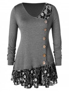 8a00e8355b6 Draped Floral Long Tunic Shirts Long Sleeve O-Neck Buttons ...