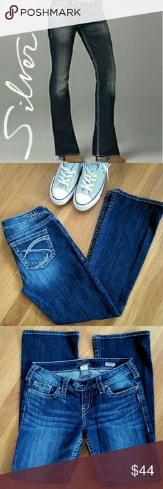 Silver EUC Tuesday Bootcut 28 Size 28W/31L Silver Tuesday Bootcut. Rarely worn and still in excellent condition. They are a dark denim with intentional fading, 99% cotton & 1% spandex, with only a little stretch. Silver Jeans Jeans Boot Cut
