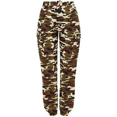 Stone Camo Print Cargo Trousers ($38) ❤ liked on Polyvore featuring pants, brown pants, cargo trousers, stoner pants, brown trousers and camoflauge cargo pants