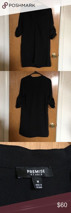 Black Premise Dress Black dress, sleeves can be rolled out as long sleeves or rolled up to wear as 3/4 sleeves. Mini dress length. Can be worn as a shirt, mini dress, or tunic. Appropriate for work, lunch dates, nights out, etc! Premise Dresses