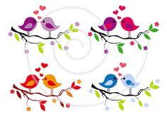 Lindos pajaritos en rama de árbol corazones rojos por Illustree, $3.00