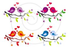 Cute baby birds on tree branch, red hearts, love, digital clip art set, Valentine's day, scrapbooking, graphic design, vector, download